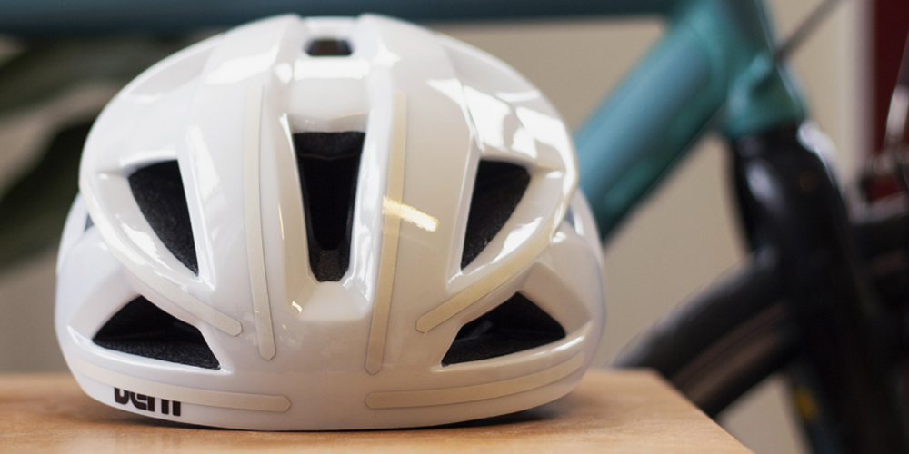 White helmet with white reflective stripes